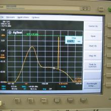 Optical Spectrum Analyzer (OSA). The monitor shows ASE noise and a laser source @ about 1550 nm.
