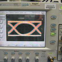 50 GHz Oscilloscope. The monitor shows the classical eye-diagram.